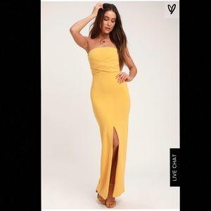 Golden Yellow Strapless Prom Dress